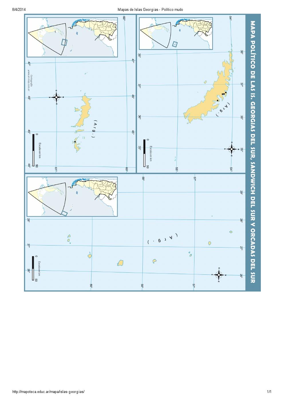 Mapa político mudo de las Islas Georgias, Orcadas y Sandwich. Mapoteca de Educ.ar