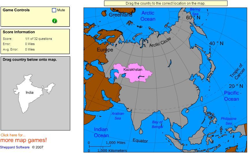 Countries of Asia. Intermediate. Sheppard Software