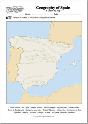 Mapa mudo de ríos y montañas de España. WorksheetWorks