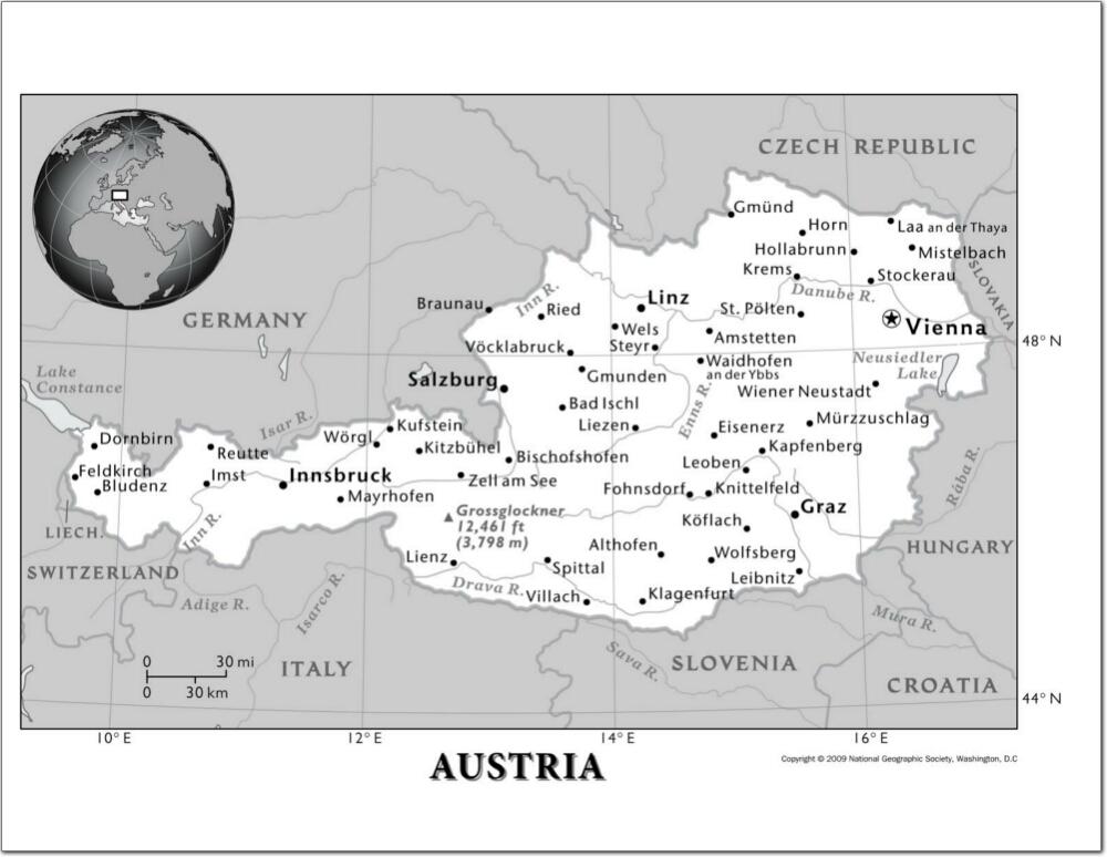 Mapa de ciudades y ríos de Austria. National Geographic
