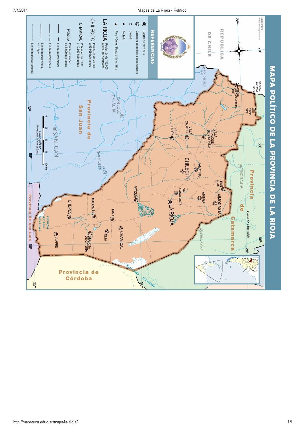 Mapa de capitales de La Rioja. Mapoteca de Educ.ar