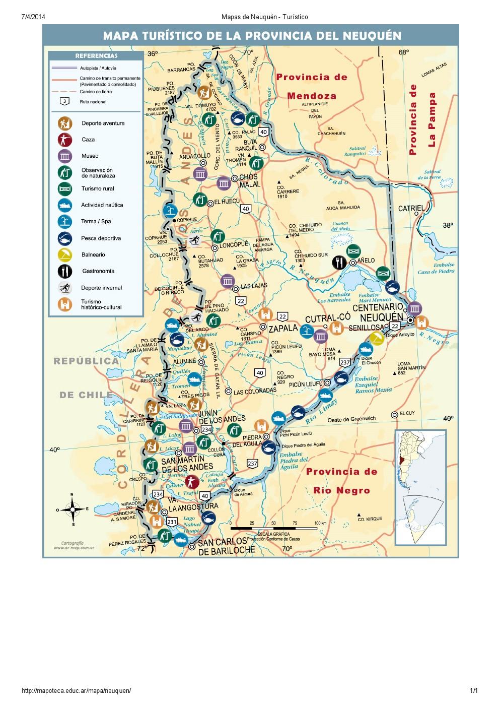 Mapa turístico de Neuquén. Mapoteca de Educ.ar