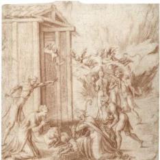 La Adoración de los pastores, con los Reyes Magos en la lejanía