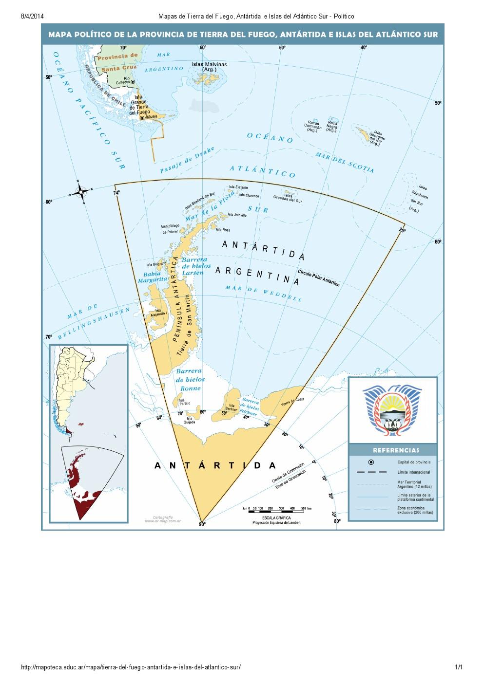 Mapa de capitales de Tierra del Fuego, Antártida e Islas del Atlántico Sur. Mapoteca de Educ.ar