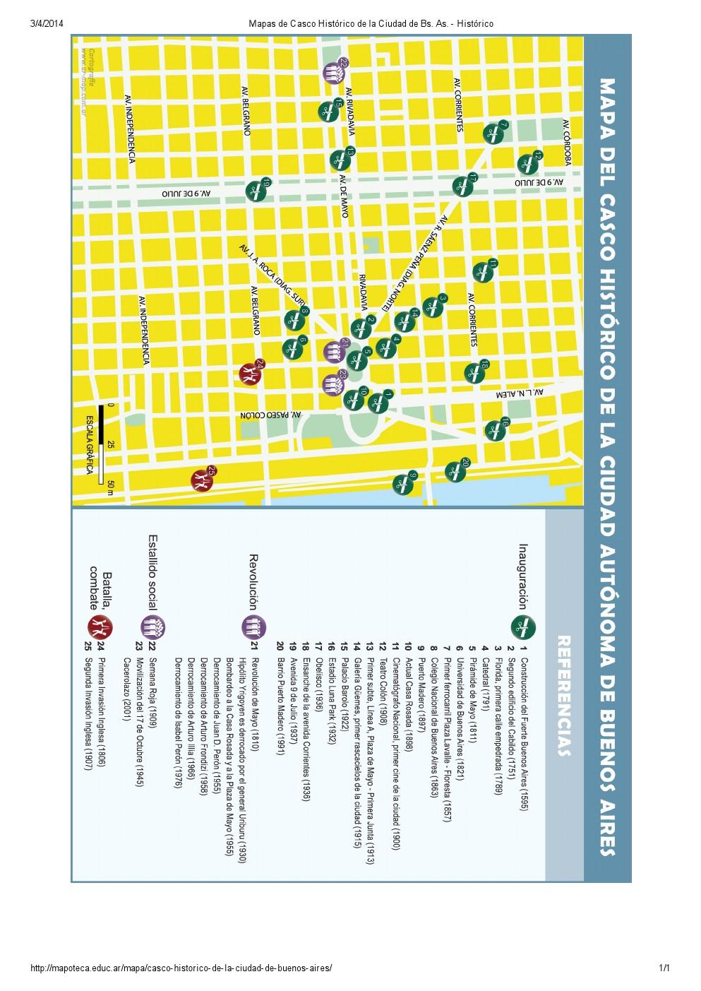 Mapa del casco histórico de Buenos Aires. Mapoteca de Educ.ar