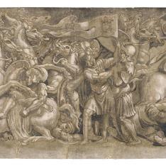 Escena de batalla con soldados levantando el estandarte de Clemente VII