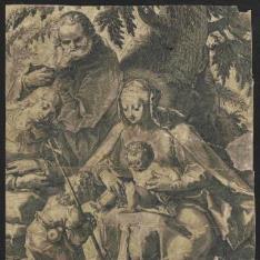 Sagrada Familia al pie de un árbol con Santa Isabel y San Juanito
