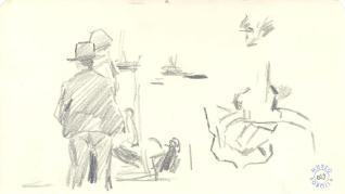 Dos pescadores, barcos y buey
