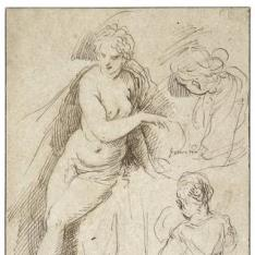 Figura femenina semi-desnuda y tres estudios de una joven