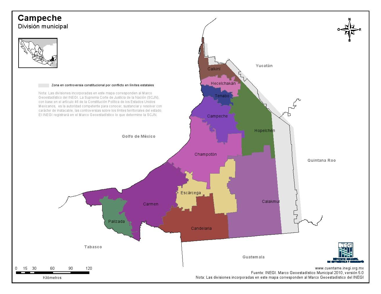 Mapa en color de los municipios de Campeche. INEGI de México