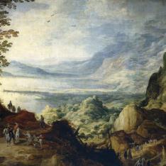 Paisaje de mar y montañas