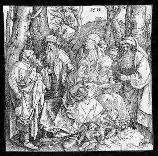 La Sagrada Familia con seis personajes y dos ángeles músicos