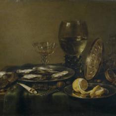 Bodegón con tazza de plata, copa Roemer y ostras