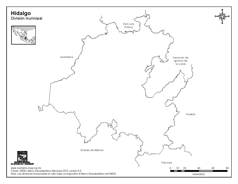 Mapa mudo de Hidalgo. INEGI de México
