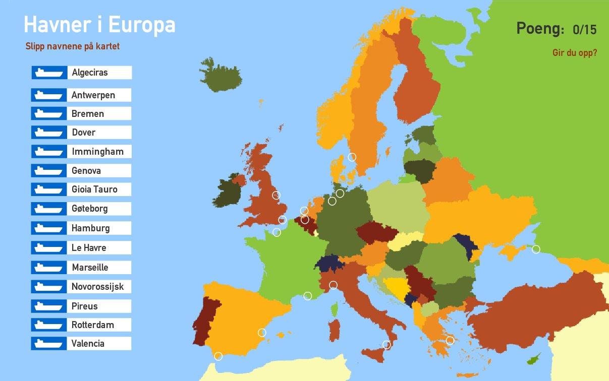 Interaktivt Kart Over Europa Havner I Europa Toporopa Mapas