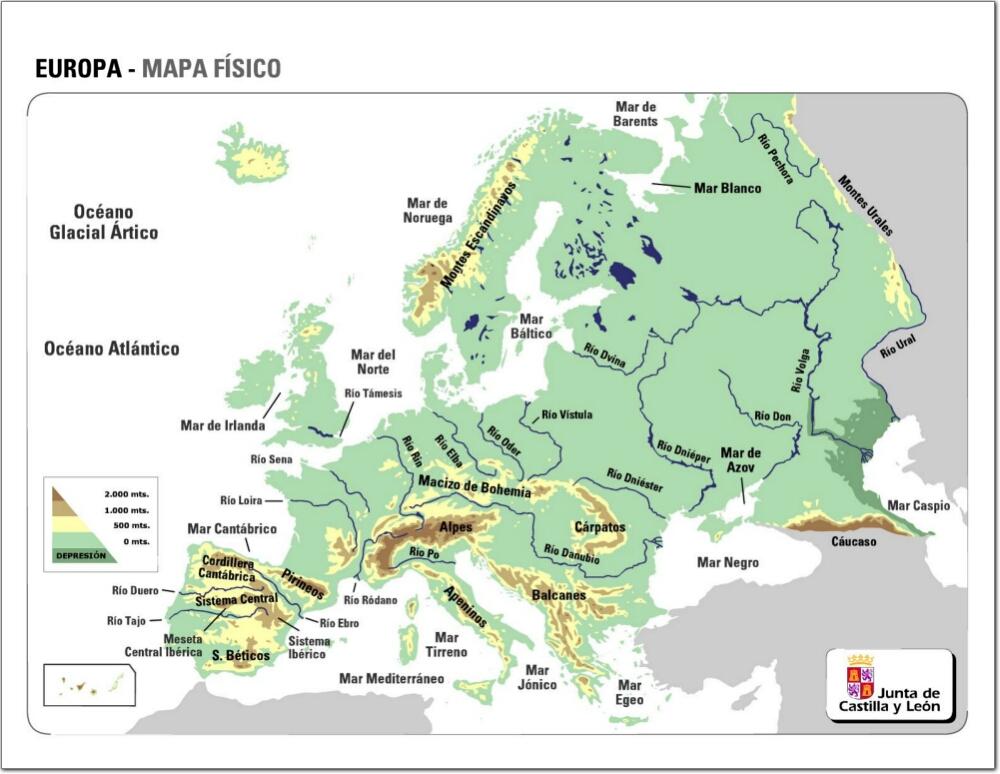 Mapa de relieve de Europa. JCyL