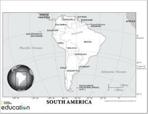 Mapa de países y ciudades de América del Sur. National Geographic
