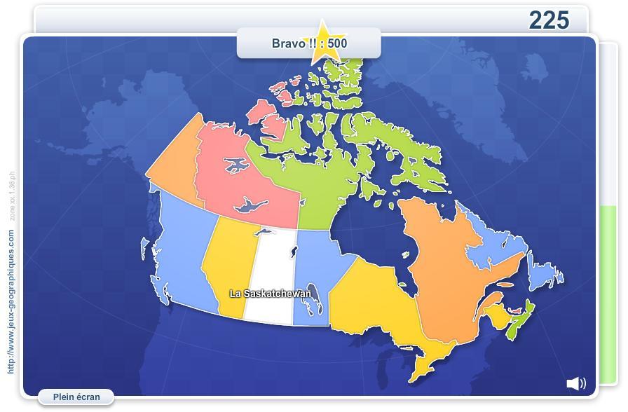 Provinces du Canada. Jeux géographiques