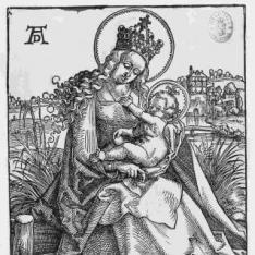 La Virgen con el Niño sobre un banco de césped
