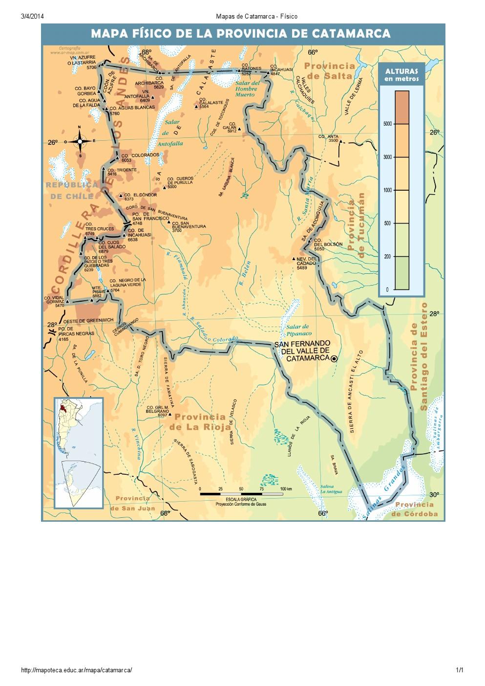 Mapa de ríos de Catamarca. Mapoteca de Educ.ar