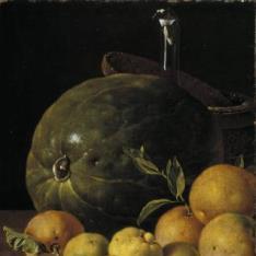 Bodegón: limas, naranjas, acerolas y sandía