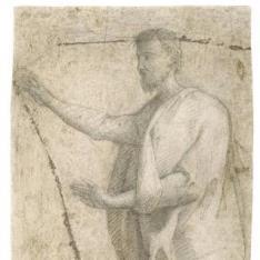 Figura masculina con manto y las manos levantadas