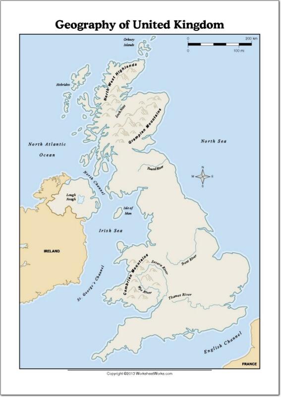 Mapa de ríos y montañas de Reino Unido. WorksheetWorks