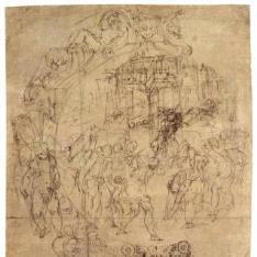 Diseño para una fuente de mayólica [El rapto de Helena (¿?)]