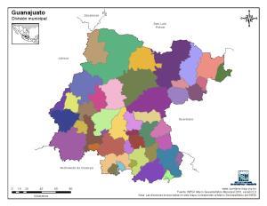 Mapa mudo de municipios de Guanajuato. INEGI de México