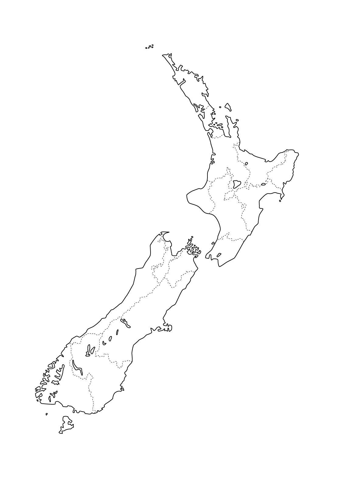 Mapa con la división política de Nueva Zelanda. Freemap