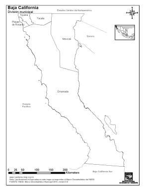 Mapa de municipios de Baja California. INEGI de México