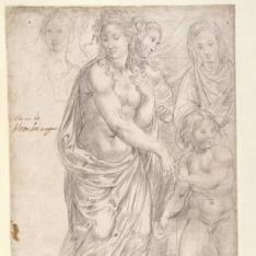 Cuatro figuras femeninas de pie y un niño