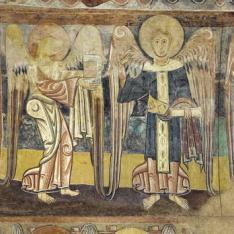 El evangelista San Marcos y un ángel. Pintura mural de la Iglesia de la Vera Cruz de Maderuelo.