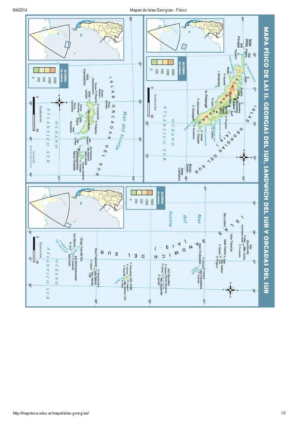 Mapa de relieve de las Islas Georgias, Orcadas y Sandwich. Mapoteca de Educ.ar