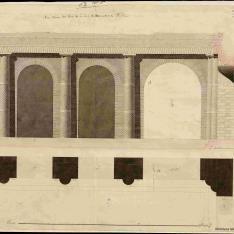 Planta, alzado y sección del orden dórico del patio de la Casa de Mecenas en Tívoli con columna dórica del Cuartel de Infantería de Pompeya