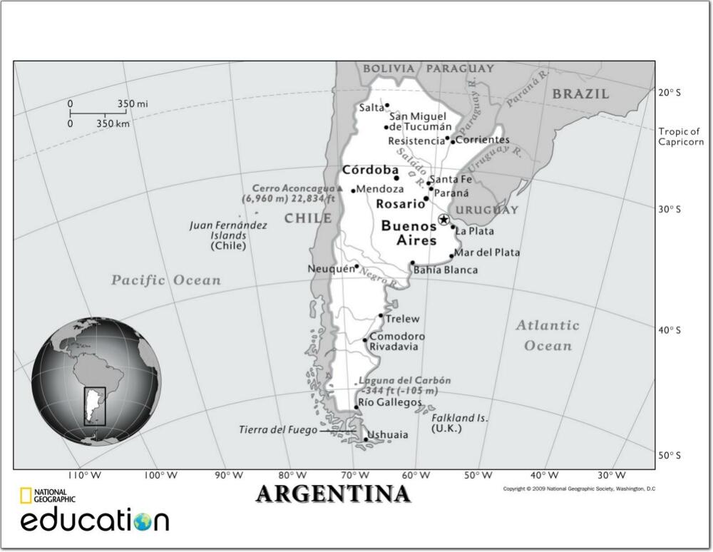 Mapa de ciudades y ríos de Argentina. National Geographic