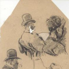 Caballeros con bombín y señora con sombrero