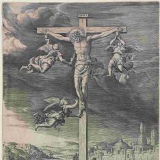 Cristo en la cruz rodeado de tres ángeles que recogensu sangre