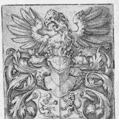 Escudo con águila como cimera y 4 animales en los campos