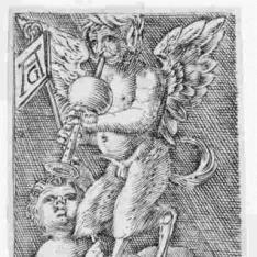 Ornamento con sátiro alado y niños