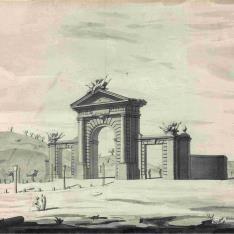 Vista en perspectiva de la Puerta de  San Vicente de Madrid].