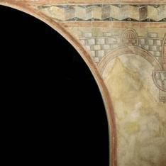 Enjuta derecha arco entrada. Pintura mural de la Iglesia de la Vera Cruz de Maderuelo.