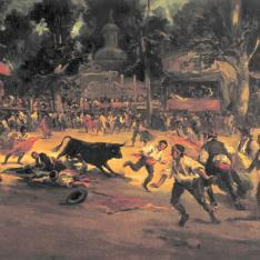 Corrida en la plaza del pueblo