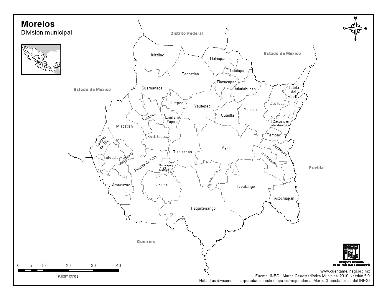 Mapa de municipios de Morelos. INEGI de México