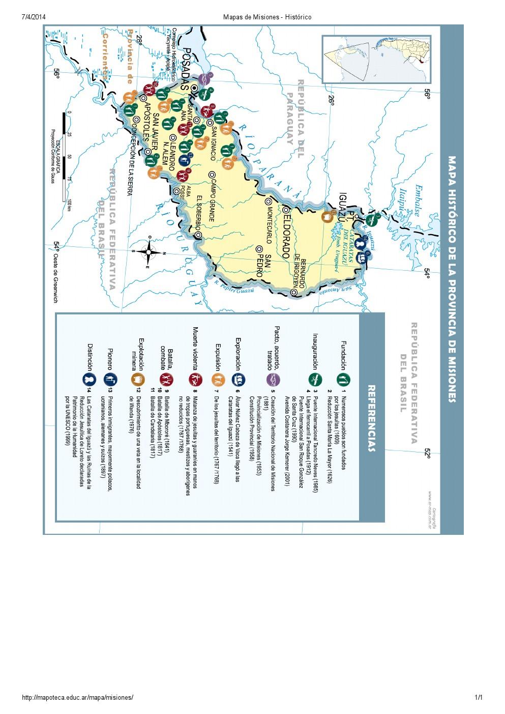Mapa histórico de Misiones. Mapoteca de Educ.ar