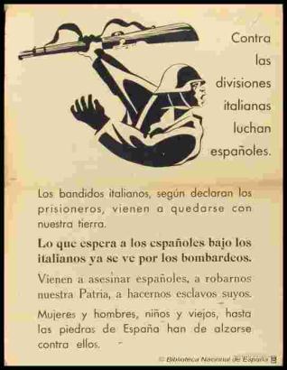 Contra las divisiones italianas luchan españoles...