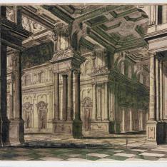 Interior escenográfico de un palacio