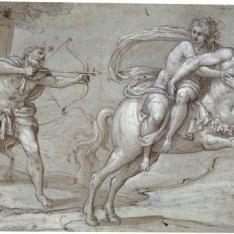 Hércules disparando una flecha al centauro Neso, que huye llevando a la ninfa Deyanira a la grupa