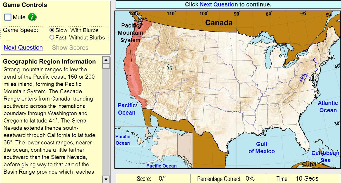 Geographic regions of United States. Game. Sheppard Software