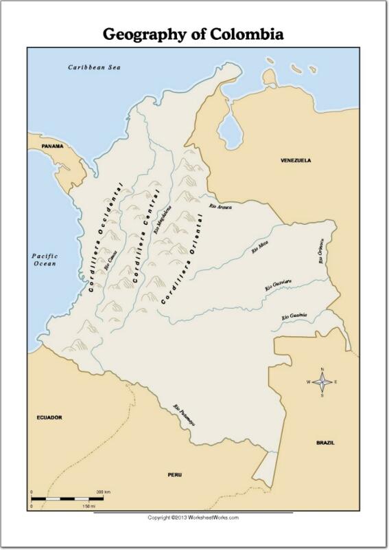 Mapa de ríos y montañas de Colombia. WorksheetWorks